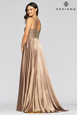 Style 10407 Faviana Gold Size 14 Prom Plus Size A-line Dress on Queenly