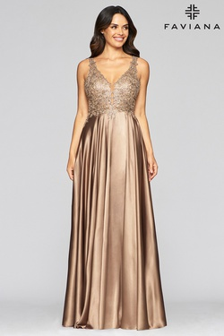 Queenly size 14 Faviana Gold A-line evening gown/formal dress