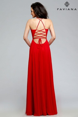 Style 7747 Faviana Red Size 00 Tulle Tall Height V Neck Side slit Dress on Queenly