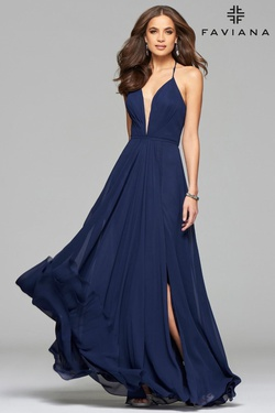 Style 7747 Faviana Blue Size 6 Tulle Tall Height V Neck Side slit Dress on Queenly