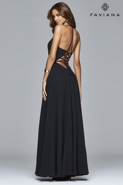Style 7747 Faviana Black Size 8 Tulle Tall Height V Neck Side slit Dress on Queenly