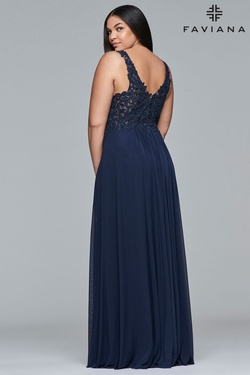 Style 9428 Faviana Blue Size 18 V Neck A-line Dress on Queenly