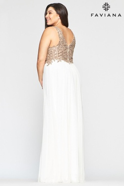 Style 9428 Faviana White Size 24 Sheer Tall Height V Neck A-line Dress on Queenly