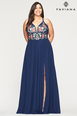 Queenly size 22 Faviana Blue A-line evening gown/formal dress
