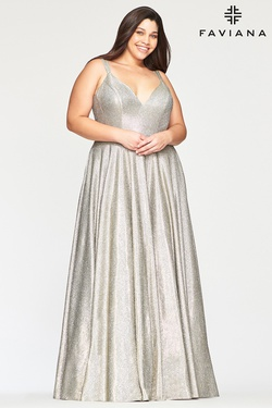 Queenly size 24 Faviana Silver A-line evening gown/formal dress