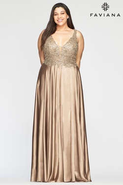 Queenly size 18 Faviana Gold A-line evening gown/formal dress