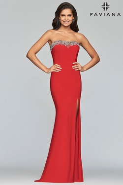 Style S10200 Faviana Red Size 6 Train Tall Height Fitted Straight Dress on Queenly