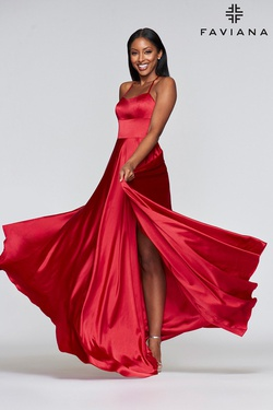 Queenly size 8 Faviana Red A-line evening gown/formal dress