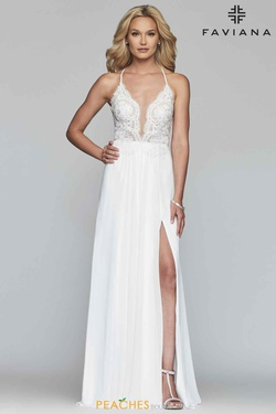 Style S10228 Faviana White Size 8 Train Tall Height Fitted Side slit Dress on Queenly