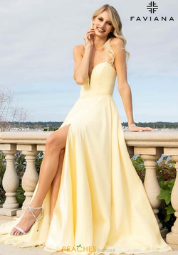 Style S10232 Faviana Yellow Size 16 Sheer Side Slit Train A-line Dress on Queenly