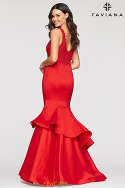 Style S10242 Faviana Red Size 10 Flare Tall Height Lace Mermaid Dress on Queenly