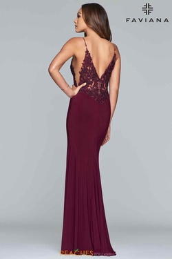 Style S10275 Faviana Red Size 2 Sheer Lace V Neck Side slit Dress on Queenly