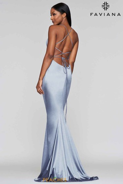 Style S10375 Faviana Blue Size 6 Fitted Silk Train Straight Dress on Queenly