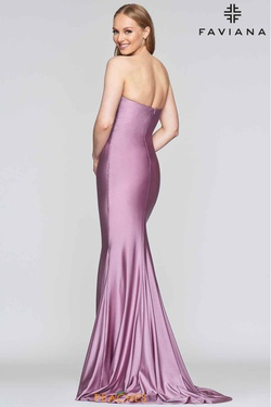 Style S10382 Faviana Purple Size 8 Sweetheart Train Tall Height Straight Dress on Queenly