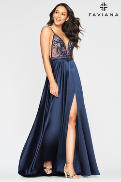 Style S10401 Faviana Blue Size 2 Backless Tall Height Straight Dress on Queenly