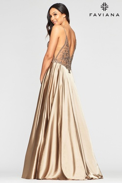 Style S10401 Faviana Gold Size 4 Backless Tall Height Straight Dress on Queenly