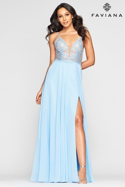 Style S10431 Faviana Blue Size 6 Tulle Sheer Tall Height A-line Dress on Queenly