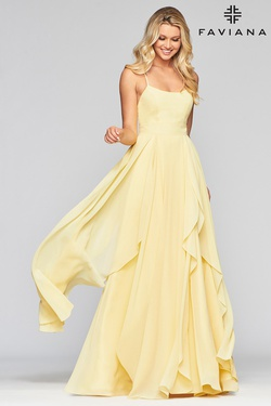 Style S10434 Faviana Yellow Size 8 A-line Dress on Queenly
