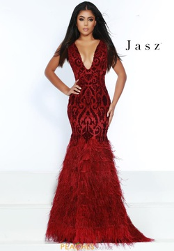 Style 6449 Jasz Couture Red Size 12 Feather Mermaid Dress on Queenly