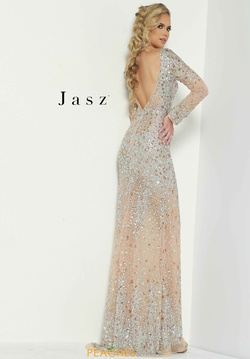 Style 6455 Jasz Couture Silver Size 6 Sheer Fitted Straight Dress on Queenly