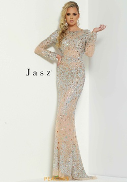 Queenly size 6 Jasz Couture Silver Straight evening gown/formal dress