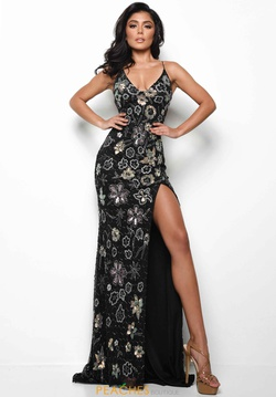 Style 7024 Jasz Couture Black Size 2 Pattern Pageant Side slit Dress on Queenly