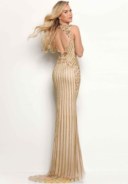 Style 7105 Jasz Couture Gold Size 12 Backless Straight Dress on Queenly