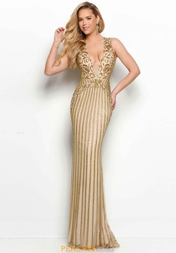 Queenly size 12 Jasz Couture Gold Straight evening gown/formal dress