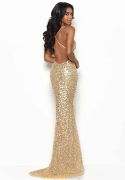 Style 7113 Jasz Couture Gold Size 6 Jewelled Backless Tall Height Straight Dress on Queenly