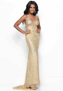 Queenly size 6 Jasz Couture Gold Straight evening gown/formal dress