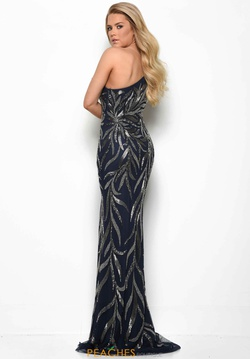 Style 7126 Jasz Couture Blue Size 6 Navy Side slit Dress on Queenly