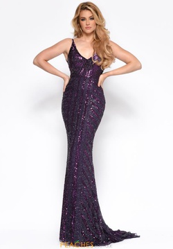 Style 7156 Jasz Couture Purple Size 12 Backless Straight Dress on Queenly