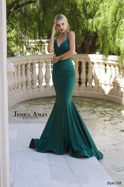 Style 338 Jessica Angel Green Size 4 Halter Corset Silk Mermaid Dress on Queenly