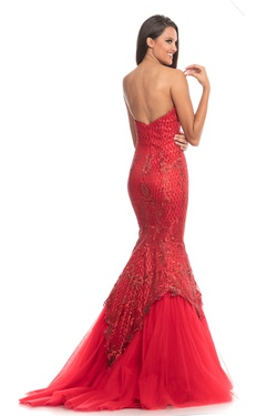 Style 9001 Johnathan Kayne Red Size 12 Sheer Mermaid Dress on Queenly