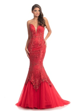 Queenly size 12 Johnathan Kayne Red Mermaid evening gown/formal dress