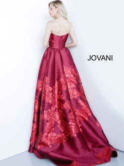 Style 02038 Jovani Red Size 2 Side Slit Tall Height Floral Ball gown on Queenly