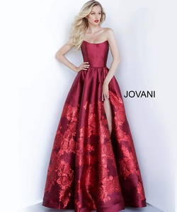 Style 02038 Jovani Red Size 6 Side Slit Tall Height Floral Ball gown on Queenly