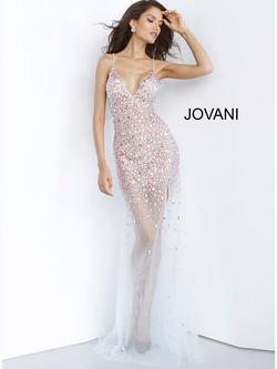 Queenly size 8 Jovani Silver Straight evening gown/formal dress