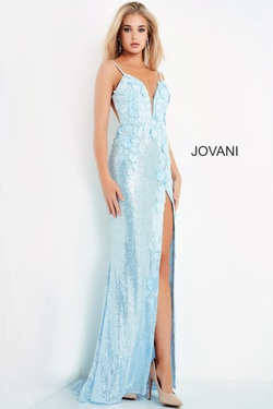 Style 1012 Jovani Blue Size 0 Sheer Tall Height Fitted Side slit Dress on Queenly