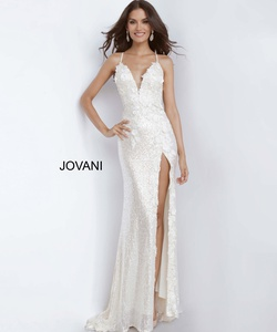 Queenly size 10 Jovani White Side slit evening gown/formal dress