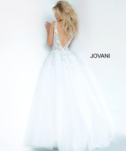 Style 11092 Jovani Blue Size 2 Sheer Tall Height Ball gown on Queenly