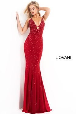 Style 1114 Jovani Red Size 0 Tall Height Wedding Guest Fitted Straight Dress on Queenly