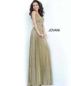 Style 2088 Jovani Gold Size 12 Plunge Plus Size Fitted A-line Dress on Queenly