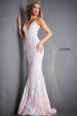 Style 3263 Jovani Pink Size 6 Backless Tall Height Mermaid Dress on Queenly