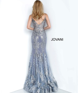 Style 3675 Jovani Silver Size 12 Sheer Mermaid Dress on Queenly