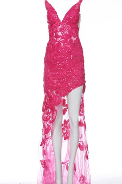 Style 4084 Jovani Pink Size 4 Sheer Tall Height Side slit Dress on Queenly