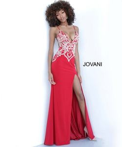 Style 54927 Jovani Red Size 2 V Neck Fitted Side slit Dress on Queenly