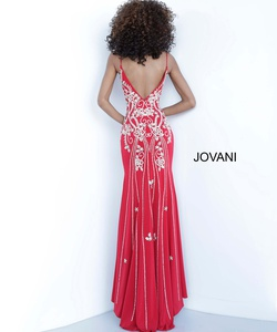 Style 54927 Jovani Red Size 6 Tall Height V Neck Fitted Side slit Dress on Queenly