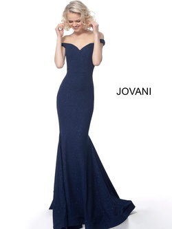 Style 55187 Jovani Blue Size 8 Train Tall Height Mermaid Dress on Queenly