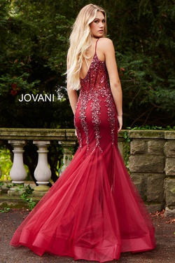 Style 56032 Jovani Red Size 6 Sheer Tall Height Fitted Mermaid Dress on Queenly
